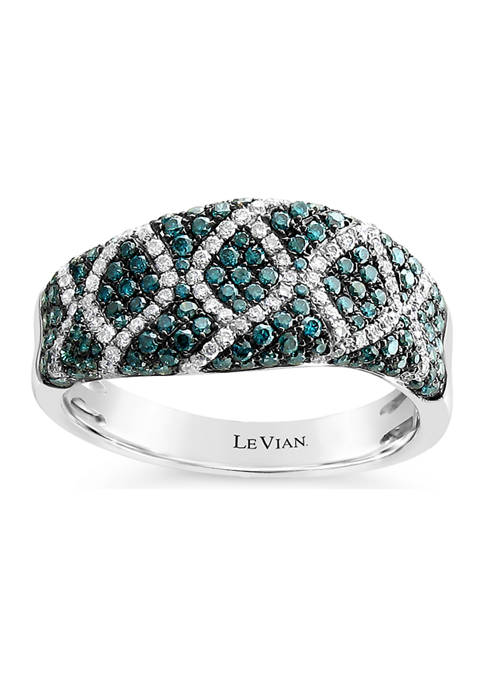 Exotics® Ring with 3/4 ct. t.w. Blue Diamonds and Vanilla Diamonds® in 14K Vanilla Gold®