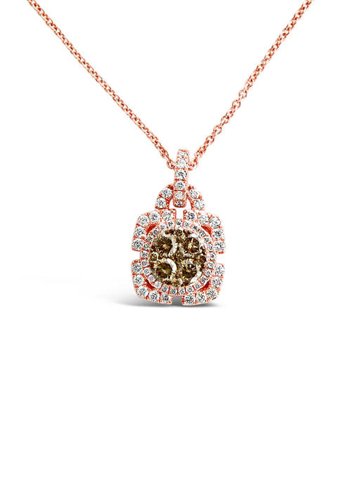 Chocolatier® Pendant Necklace with 3/8 ct. t.w. Chocolate Diamonds®, 1/3 ct. t.w. Vanilla Diamonds® in 14K Strawberry Gold®