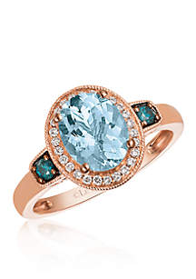 Sea Blue Aquamarine™, Vanilla Diamond®, and Blueberry Diamond® Ring in 14k Strawberry Gold®
