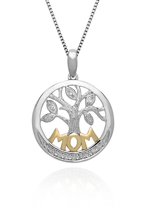 "Belk & Co. Diamond ""MOM"" Pendant in Sterling"