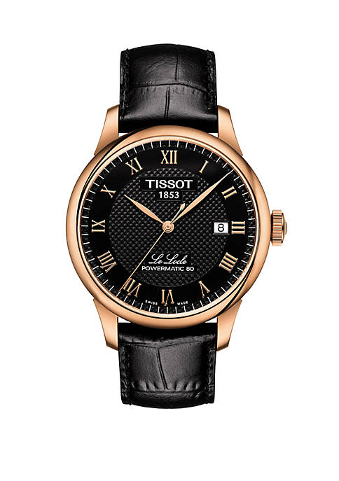 Rose Gold-Tone Stainless Steel Swiss Le Locle Black Leather Strap Watch