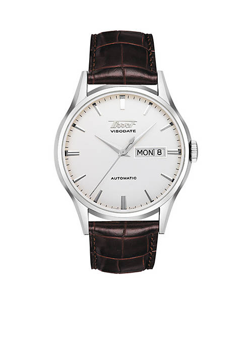 Tissot Visodate Mens Silver Automatic Brown Leather Strap