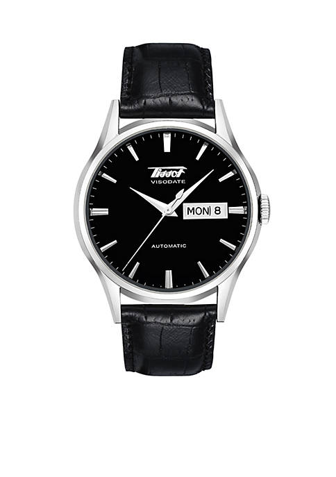 Tissot Mens Visodate Automatic Black Leather Strap Watch