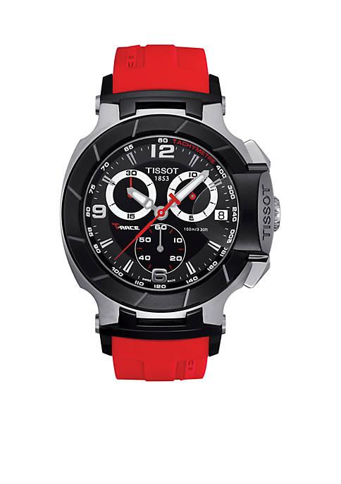 Mens T-Race Quartz Chronograph Red Rubber Strap Watch
