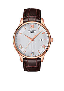Men's Tradition Quartz Rose Gold-Tone Dial Brown Leather Watch