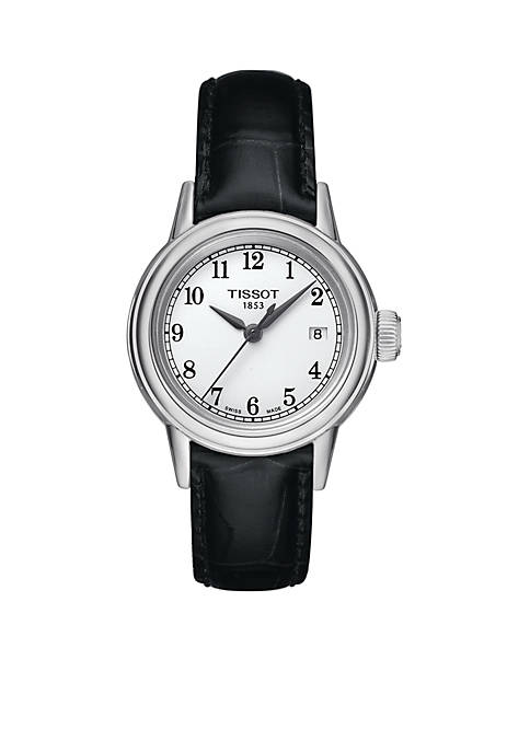 Womens Carson Black Leather Strap Watch