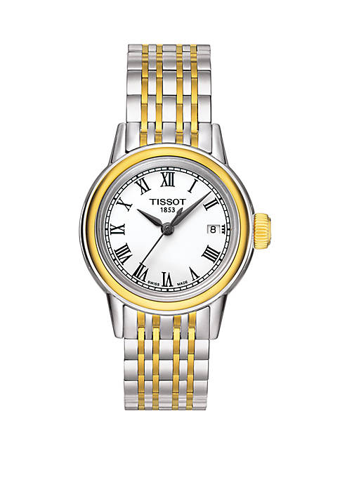2 Tone Stainless Steel Carson White Dial Bracelet Watch