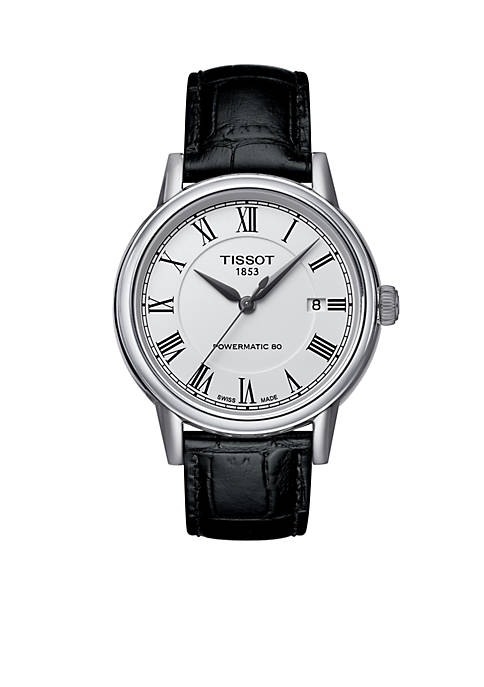 Mens T-Classic Carson White Dial Black Leather Watch