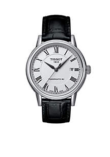 Men's T-Classic Carson White Dial Black Leather Watch