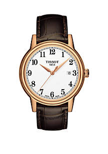 Rose Gold-Tone Stainless Steel T-Classic Carson Leather Strap Watch