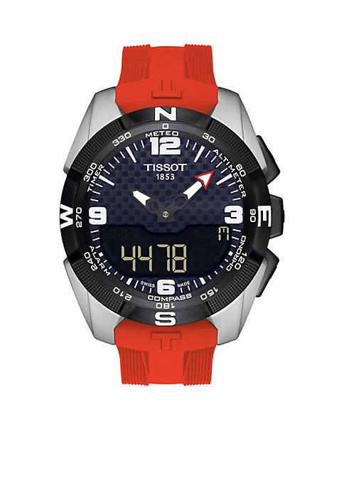 Mens T-Touch Solar Mens Black Carbon Dial Watch