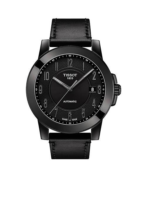 Mens Stainless Steel Swiss Automatic Gentleman Swissmatic Black Leather Strap Watch