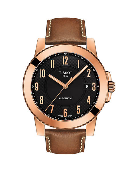 Tissot Mens Rose Gold-Tone Stainless Swiss Automatic Gentleman