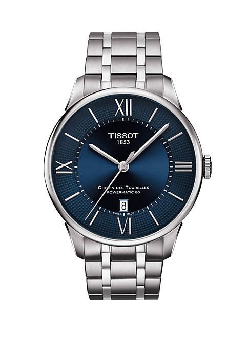 Stainless Steel Swiss Automatic T Classic Chemin des Tourelles Powermatic 80 Bracelet Watch