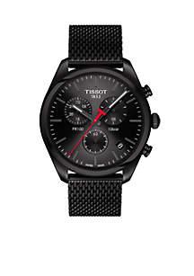 Men's Stainless Steel Swiss Chronograph T-Classic PR 100 Black PVD Stainless Steel Mesh Bracelet Watch