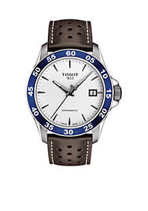 Stainless Steel V8 Automatic Leather Strap Watch