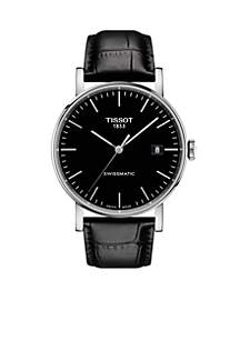 Men's Stainless Steel Swiss Automatic Everytime Swissmatic Black Leather Strap Watch