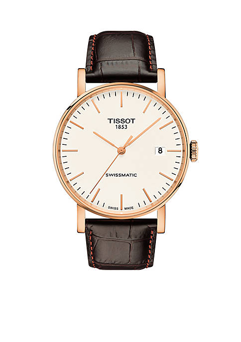 Tissot Mens Rose Gold-Tone Stainless Steel Swiss Automatic