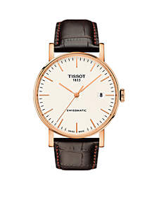 Men's Rose Gold-Tone Stainless Steel Swiss Automatic Everytime Swissmatic Dark Brown Leather Strap Watch