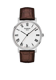 Stainless Steel T-Classic Everytime Leather Strap Watch