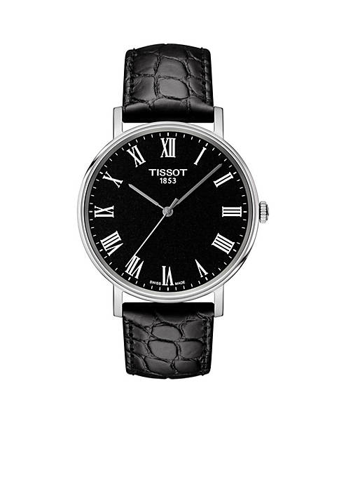 Tissot Stainless Steel T-Classic Everytime Leather Strap Watch