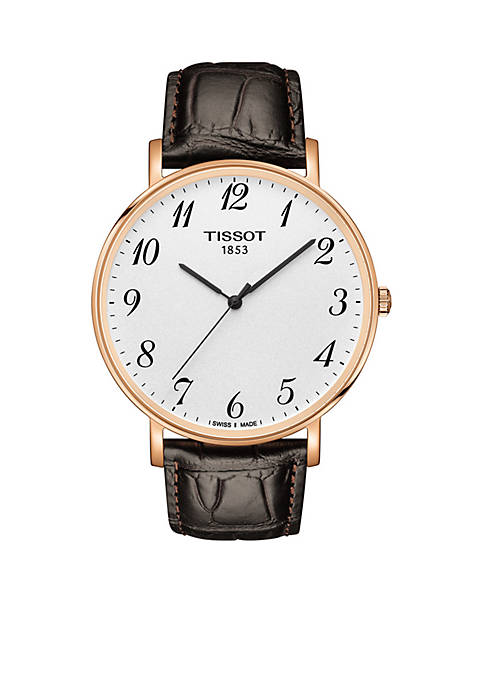 Tissot Gold-Tone Stainless Steel T-Classic Everytime Leather