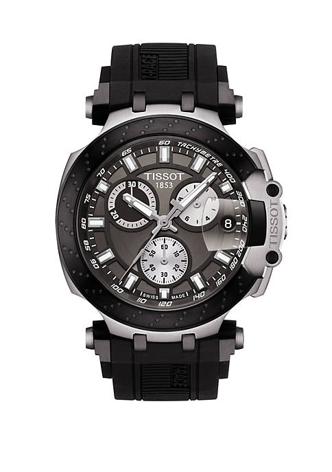 Mens Swiss Chronograph T Sport T Race Black Silicone Strap Watch