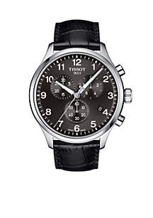 Men's Stainless Steel Chrono XL Classic Leather Strap Watch