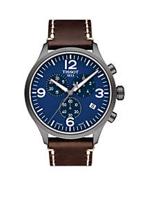 Men's Stainless Steel Swiss Chrono XL Brown Leather Strap Watch