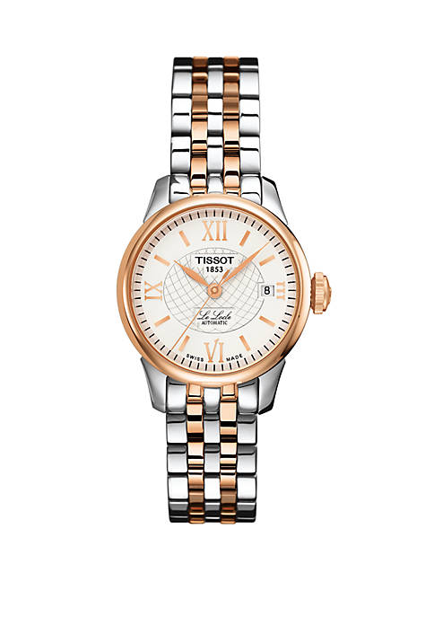 Womens Two Tone Stainless Steel Swiss Le Locle Automatic Bracelet Watch