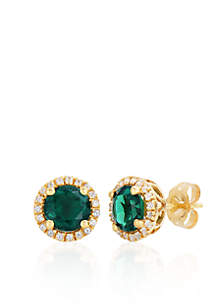 10k Yellow Gold Created Emerald and White Topaz Earrings