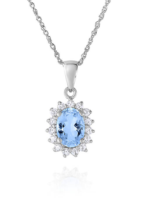 Belk & Co. Aquamarine and White Topaz Pendant