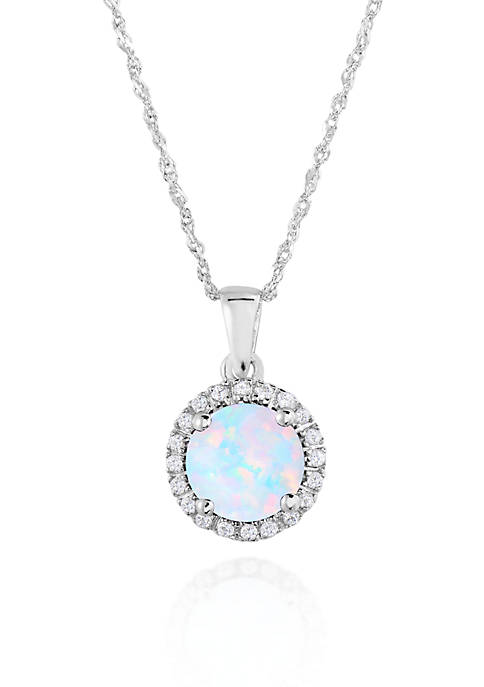 Belk & Co. 10k White Gold Created Opal