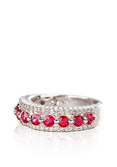 Belk & Co. Sterling Silver Ruby and Diamond Band Ring