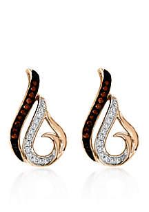 1/10 ct. t.w. Cognac Diamond Stud Earrings in 10k Rose Gold