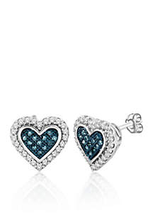 3/8 ct. t.w. Blue and White Diamond Heart Shape Stud Earrings in 10k White Gold