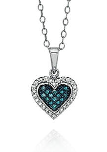 1/6 ct. t.w.  Blue and White Diamond Heart Necklace in 10k White Gold