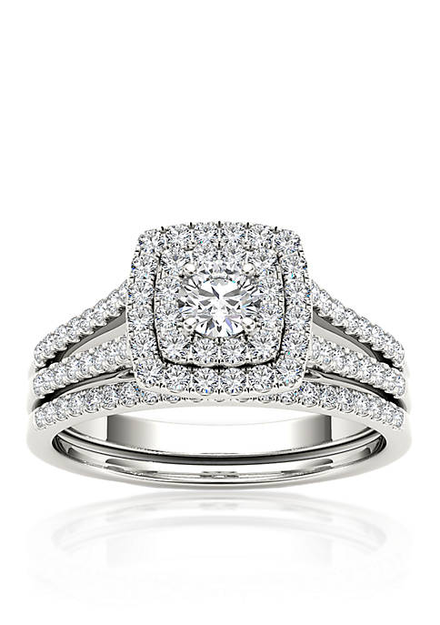 3/4 ct. t.w. Diamond Double Halo Engagement Ring Set in 10k White Gold