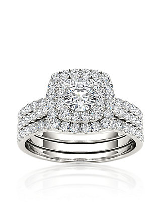 Double Halo Engagement Ring with Two Matching Band Bridal Ring Set in Silver