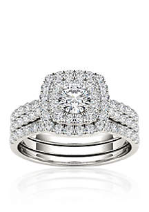 1 1/2 ct. t.w. Double Halo Engagement Ring Set with Two Bands in 10k White Gold