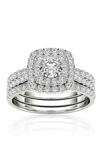 Belk Co 1 2 Ct T W Double Halo Engagement Ring Set