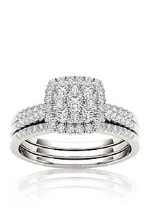 1/2 ct. t.w. Diamond Engagement Double Band Ring Set in 10k White Gold
