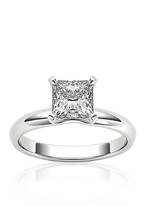 1 ct t.w. Princess Cut Solitaire Engagement Ring in 14k White Gold