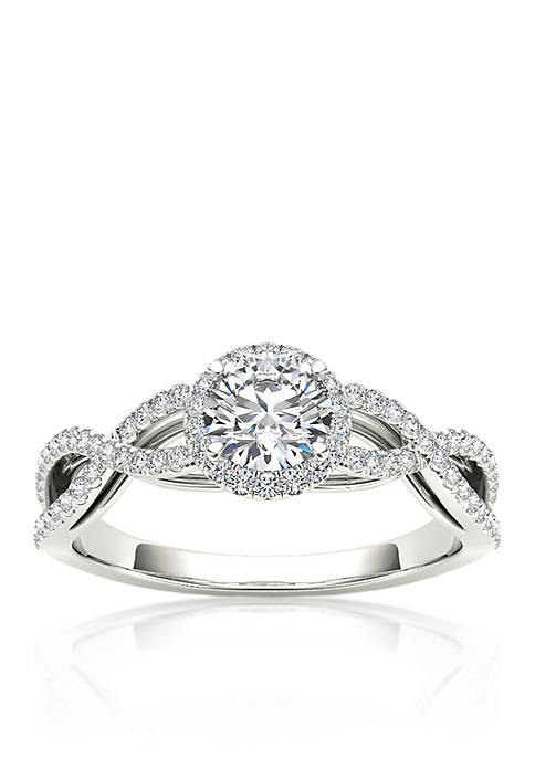 3/4 ct. t.w. Halo Diamond Engagement Ring in 14k White Gold