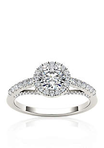 3/4 ct.t.w. Halo Diamond Engagement Ring in 14k White Gold