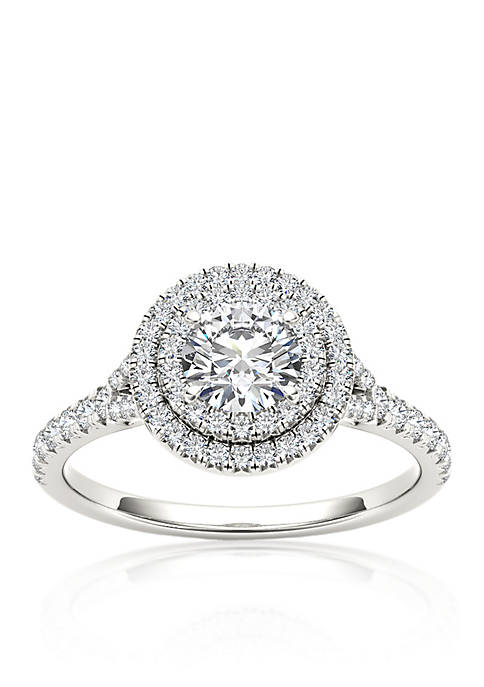 1 ct. t.w. Double Halo Diamond Engagement Ring in 14k White Gold