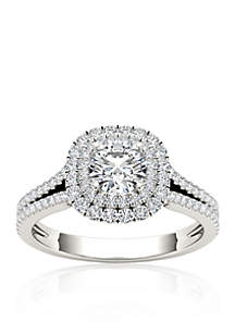 1 1/6 ct. t.w. Diamond Double Halo Engagement Ring in 14k White Gold