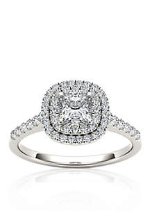 1 1/10 ct. t.w. Diamond Double Halo Engagement Ring in 14k White Gold