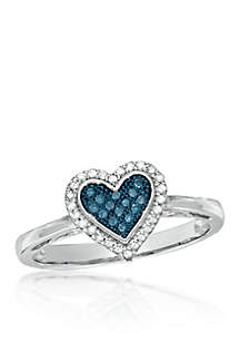 1/6 ct. t.w. Blue and White Diamond Heart Cocktail Ring in 10k White Gold
