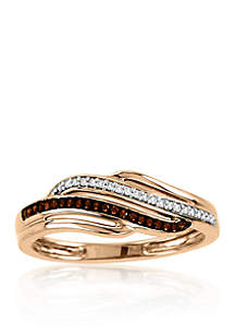 1/10 ct. t.w. Cognac and White Diamond Ring in 10k Rose Gold